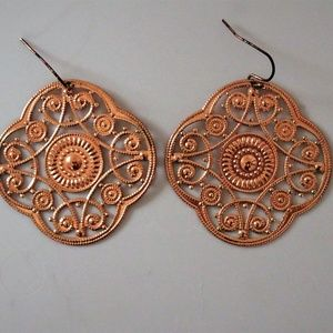 Jewelry - Delicate Copper Colored Filigree Earrings